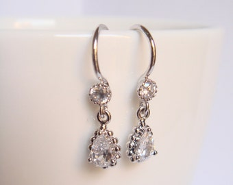 Tiny crystal and silver bridal earrings - Wedding earrings - Bridesmaids earrings gift - Cubic crystal drop earrings