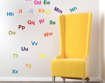 Alphabet Wall Letter Decal Stickers Nursery Mural Letters Kids Alphabet  Bedroom Sticker, Removable Letter Appliques