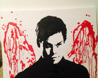 Dexter Morgan canvas painting with blood wings