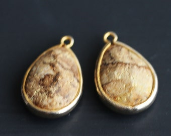 A2-500-G-WD] Wood / 14 x 20mm / Gold plated / Teardrop Pendant /  2 pieces