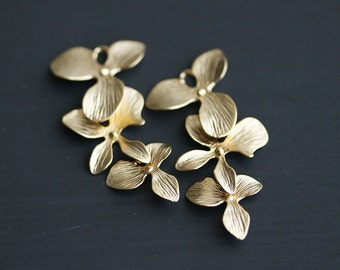 P0-046-MG] Triple Orchid Flower / 15 x 33mm / Matt Gold plated / Pendant / 2 pieces