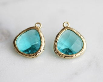 A2-004-G-BZ] Blue Zircon / 13mm / Gold plated / Glass Pendant / 2 pieces