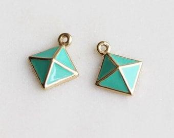 P1-469-G] Mint Epoxy Diamond Pyramid / 11mm / Gold plated / Pendant / 2 piece(s)