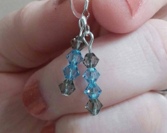 Swarovski Crystal Dangle Earrings In Sterling Silver