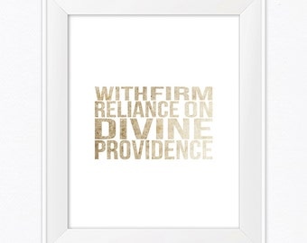 With Firm Reliance - Digital Print - Wall Art - Downloadable - 8x10