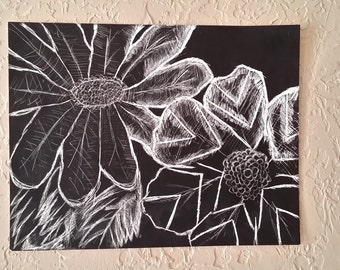 Black Beauty: Two -black and white flower, scratch board, home decor