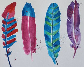 Bright Feathers ORIGINAL Watercolor - Nursery - Feather Theme - 9x12 inch