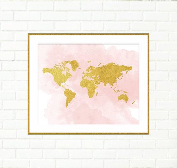 Etsy Gold Wall Decor : Baby girl nursery art print gold world map pink wall