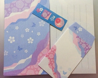 Mini Japanese Stationery Set - Butterflies and Flowers