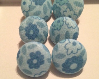 Blue Floral Fabric Button Earrings
