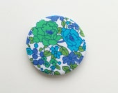 Vintage Fabric Badge/Brooch in Blue and Green Floral Print