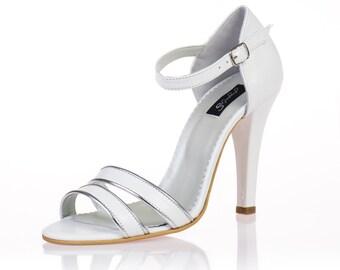Eva White Leather Sandals
