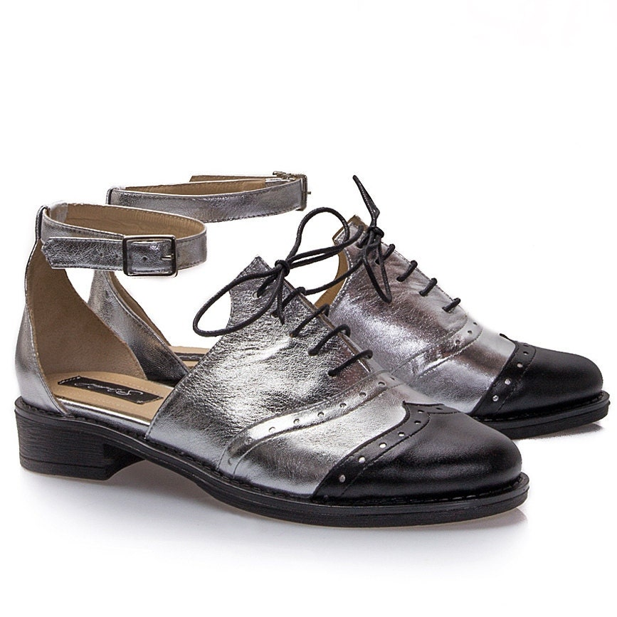 Silver Leather Reinvented Oxford Shoes