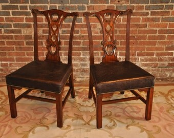 Pair Of Maitland Smith Mahogany Side Chairs