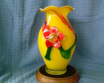 Cased Glass, Art Glass, Vase with Applied Flower