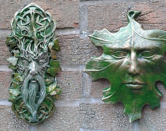 Whispy and Leaf GreenMan Garden Wall Plaques - Hand Cast & Painted PAGAN WICCAN
