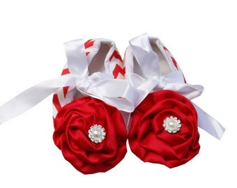 Baby Girls Red Chevron with Crystal Red Satin Rosette Ribbon Crib Shoes  - Baby Shoes - Soft Sole Baby Girl Shoes