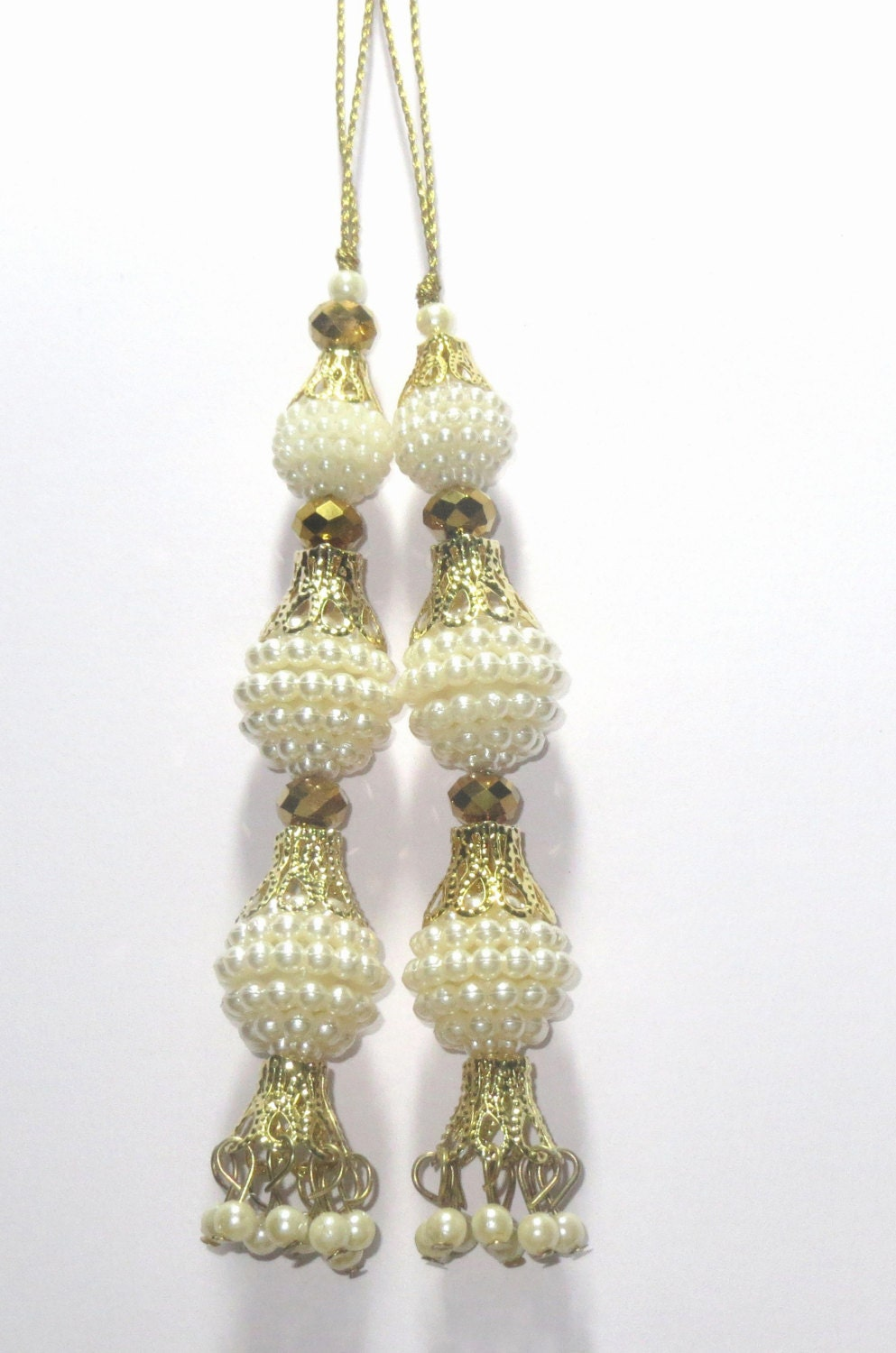 White Pearl Handcrafted Ethnic Glass Bead Tassel