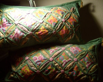 """Cathedral Window Pillow Pair """" KIMI COLLECTION"""
