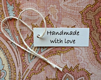 100 Handmade with Love tags mini tags hang tags gift tags price tags simple jewelry tags product tags labels seller supplies merchandise tag