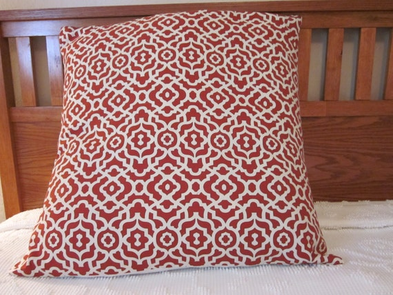 Extra Large Rust/Red Trelllis Pillow Cover 26x26 by BestBetDesign
