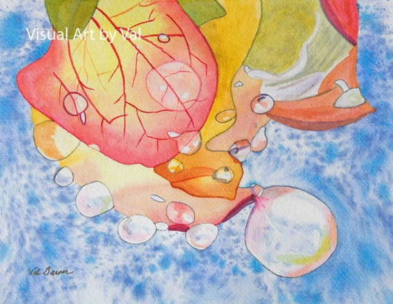 Watercolor Art Home Decor 'Raindrops on Roses' Giclee Professionally Printed on Watercolor Paper