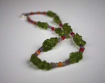 Green Glass, Amazonite, and Carnelian Necklace