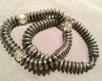 Shiny and Matte Metal Beaded Stretchy Bracelets with Bling