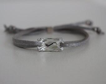Bracelet swarovski suede size adjustable