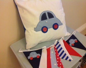 Handmade car cushion cover & Bunting Red Blue White baby's nursery/bedroom vintage style,shabby chic spotty stripe