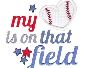 Baseball Heart Applique Machine Embroidery Design 4x4 5x7 6x10