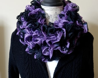 Handmade Ruffle Scarf in Purple and Black