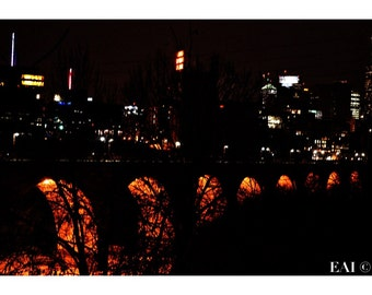 On Fire/StoneArch Bridge/night/Minneapolis skyline/Mississippi River/color photography/wall art/print