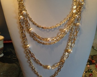 Layered Gold Chain and Pearl Necklace
