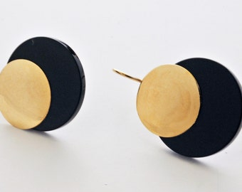 """3/4"""" earrings with lucite and fold color metal. #37"""
