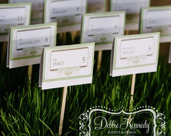 Rustic French Garden Bespoke Place Cards / Escort Cards DEPOSIT - Rustic Green Wedding - Reception Seating, Custom Design Wedding Name Cards