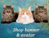 Kitty Cat Shop Banner and Avatar, Instant download, blank file, header, three cute cats, blue teal, cuddle cats blue eyes, DIY