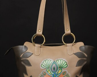 """Gorgeous leather handmade bag with """"point-to-point"""" painting"""