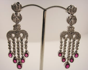 18ct White Gold, Ruby and Diamond Chandalier Earrings