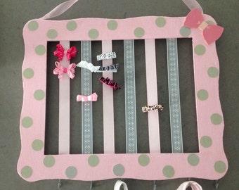 Hair Bow Frame Organizer~Baby Room Bow Holder~Girl's Room Wall Decor