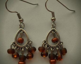 Brown Chandelier Earrings, Brown Earrings, Universal Earrings, Trendy Earrings