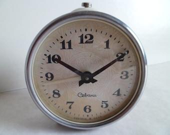 "Vintage Soviet Alarm Clock, ""Sevani"", Working Desk Table Clock from USSR, 1970's"