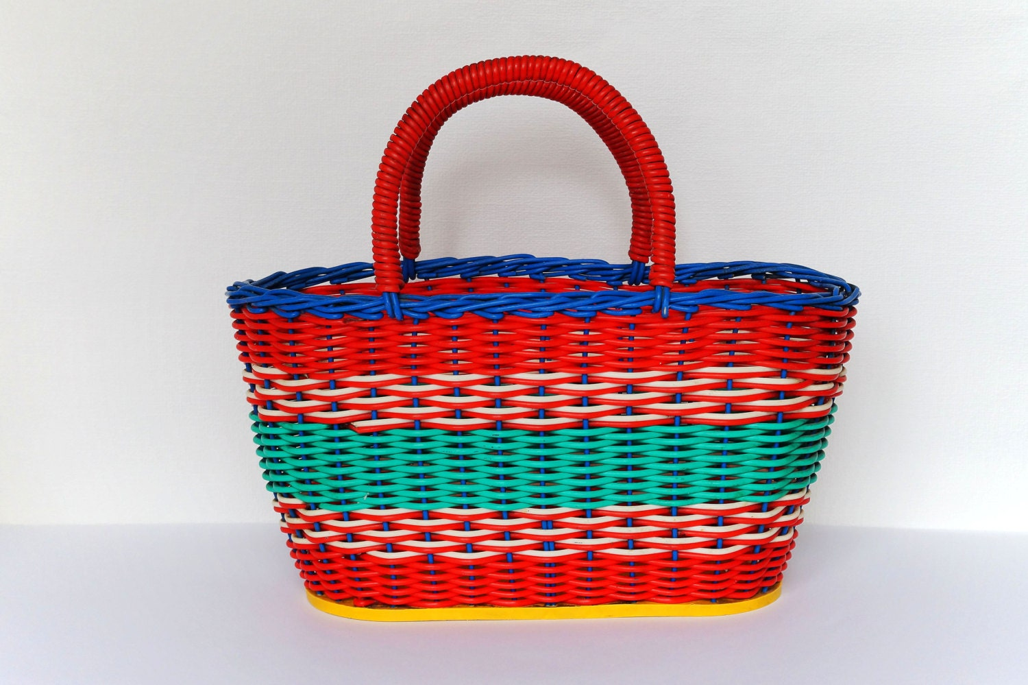 Vintage Plastic Wicker Basket 70 S Rainbow Woven Handle