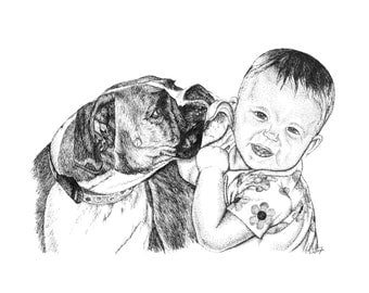 Custom Pet Pen & Ink Drawing