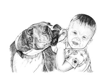 Custom Pet Pen & Ink Drawing