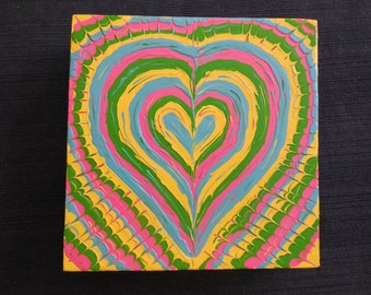 Brightly Colored Unique Heart Handpainted on 6x6 Canvas