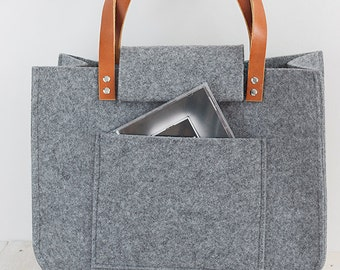 Grey felt tote bag, Felt Bag, Large Tote, For Shopping, Shopper Bag, Leather Handles, Tote Bag, Tote Felt, shoulder bag, Handbag, Christmas