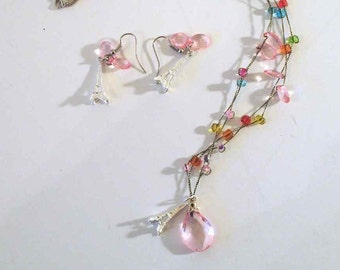 Beautiful Contemporary Pink Paris Necklace and Earring Jewelry Set