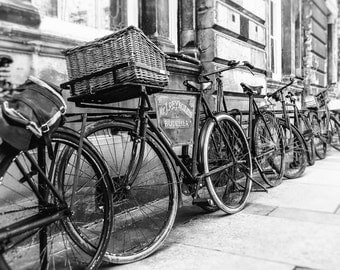 Vintage Photography, Retro Photography, vintage bicycles, Black and White Photography, Fine Art Photography - Old Bikes in a Row