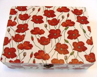 Handmade Poppy Covered Box